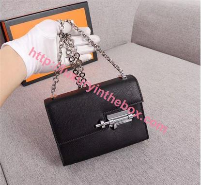 Picture of Hermes Verrous 17cm Goat Leather Pochette Chain Bag Black Silver