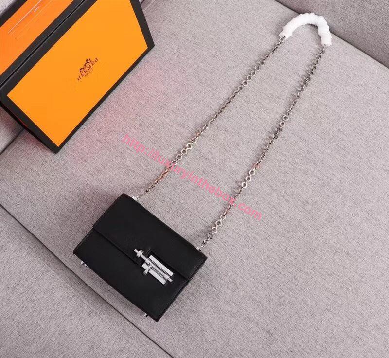 Picture of Hermes Verrous 17cm Goat Leather Pochette Chain Bag Black Silver