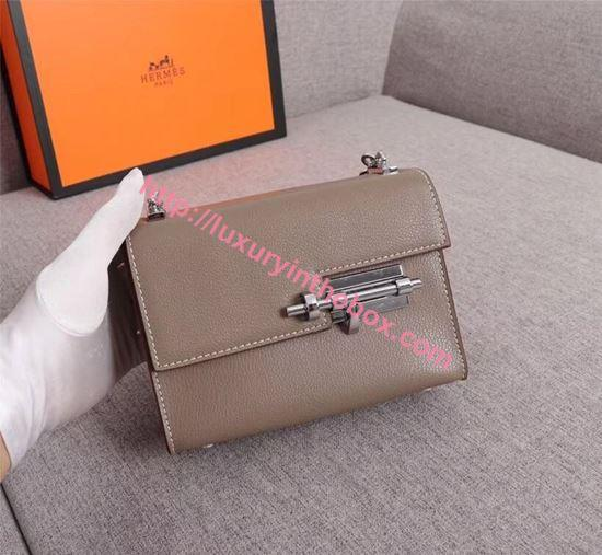 Picture of Hermes Verrous 17cm Goat Leather Pochette Chain Bag Grey Silver