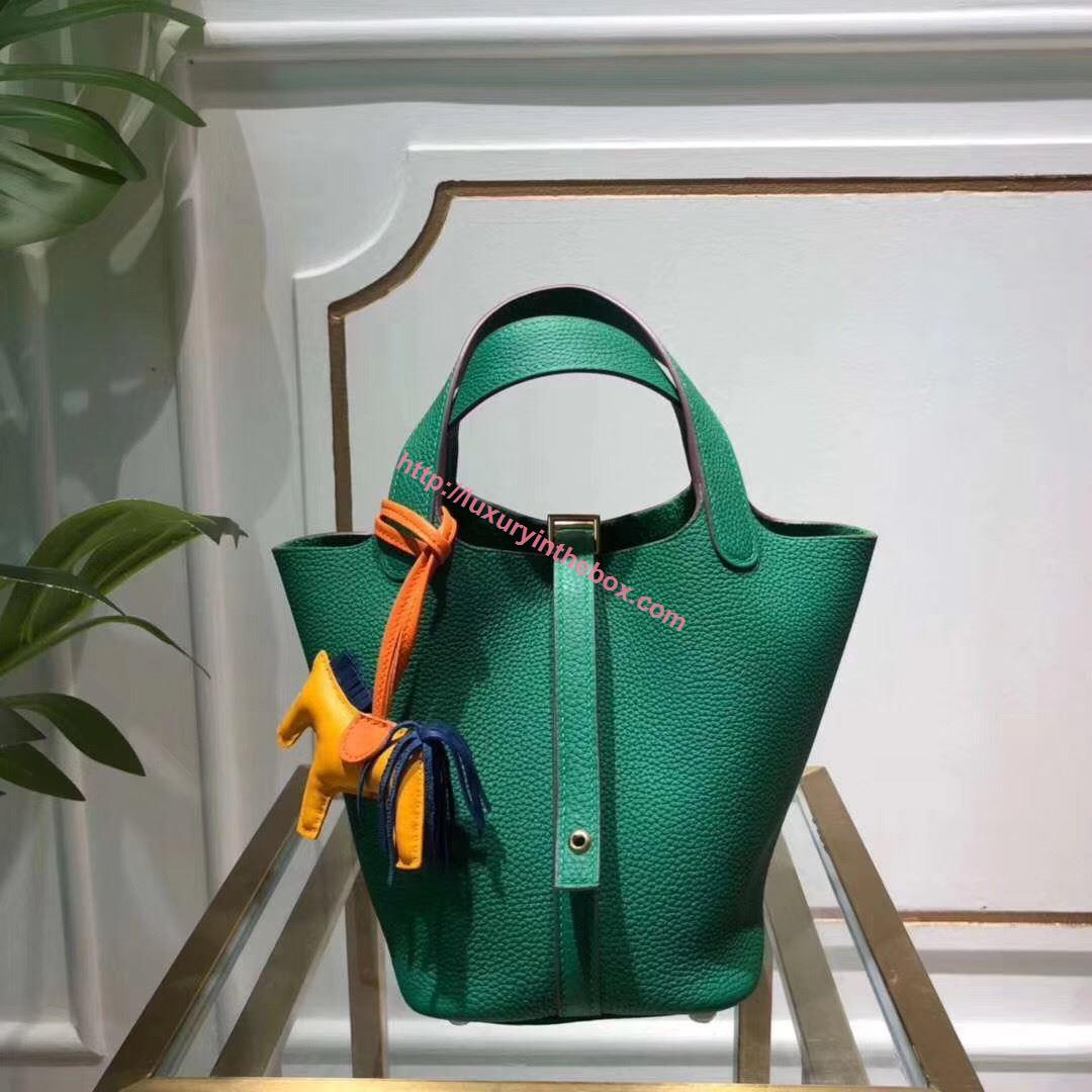 Picture of Hermes Picotin Lock 18cm Calfskin Leather Handbag Green Gold