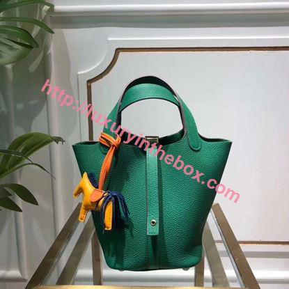 Picture of Hermes Picotin Lock 18cm Calfskin Leather Handbag Green Gold