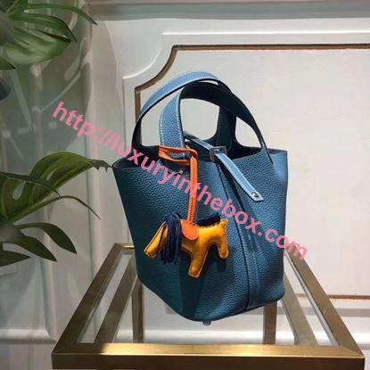 Picture of Hermes Picotin Lock 18/22cm Calfskin Leather Handbag Blue Silver