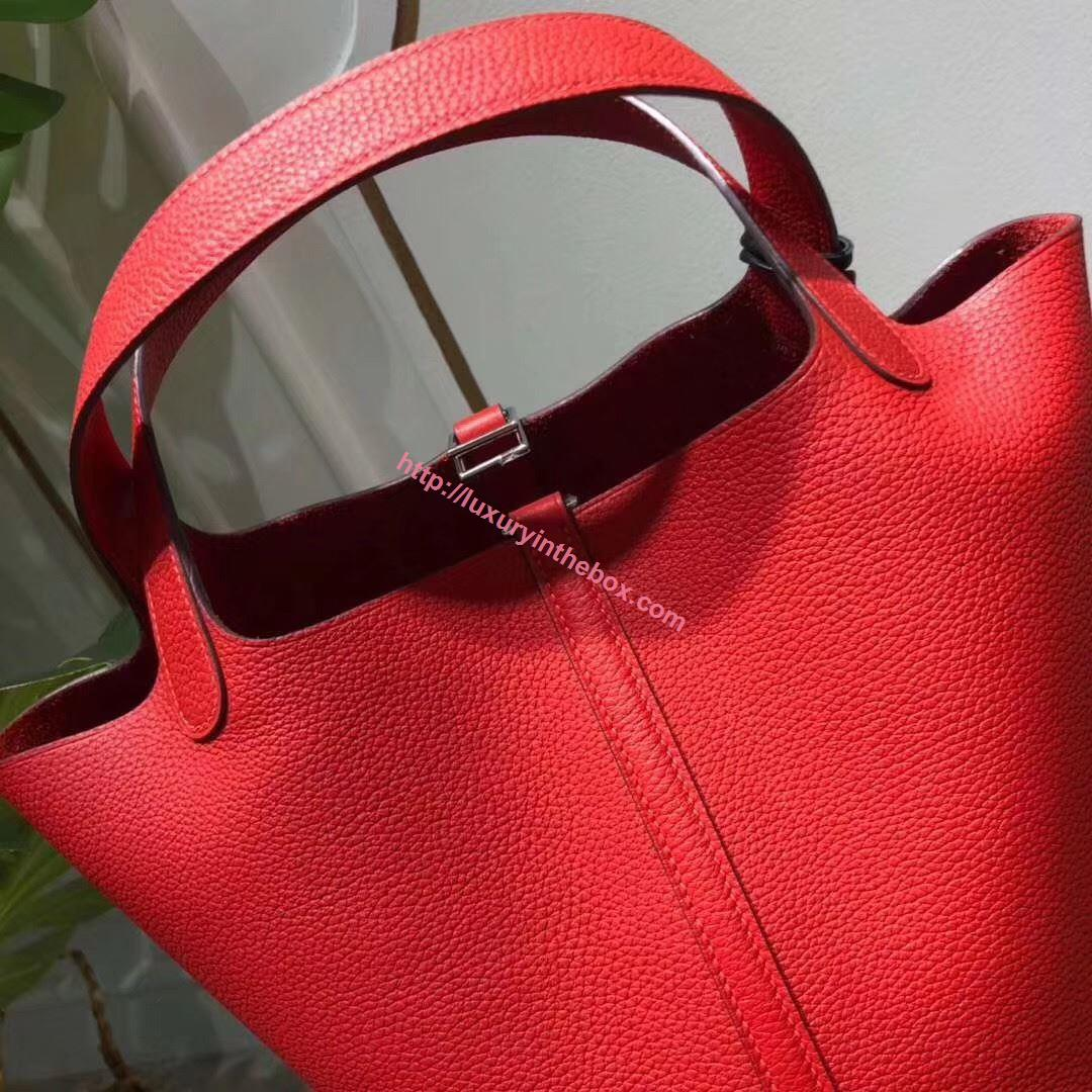 Picture of Hermes Picotin Lock 18/22cm Calfskin Leather Handbag Red Silver