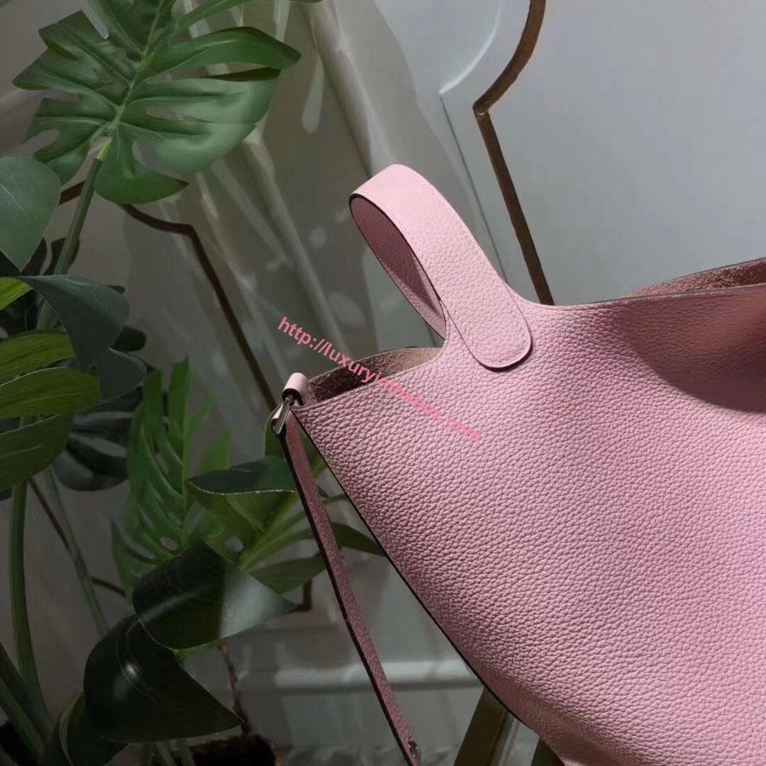 Picture of Hermes Picotin Lock 18/22cm Calfskin Leather Handbag Light Pink Silver