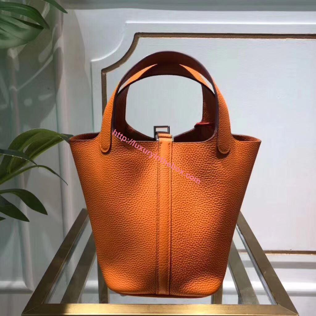 Picture of Hermes Picotin Lock 18/22cm Calfskin Leather Handbag Yellow Orange Silver