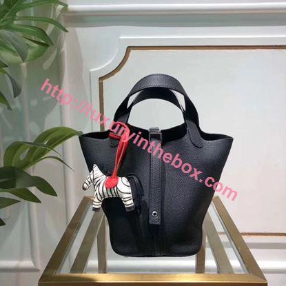 Picture of Hermes Picotin Lock 18/22cm Calfskin Leather Handbag Black Silver