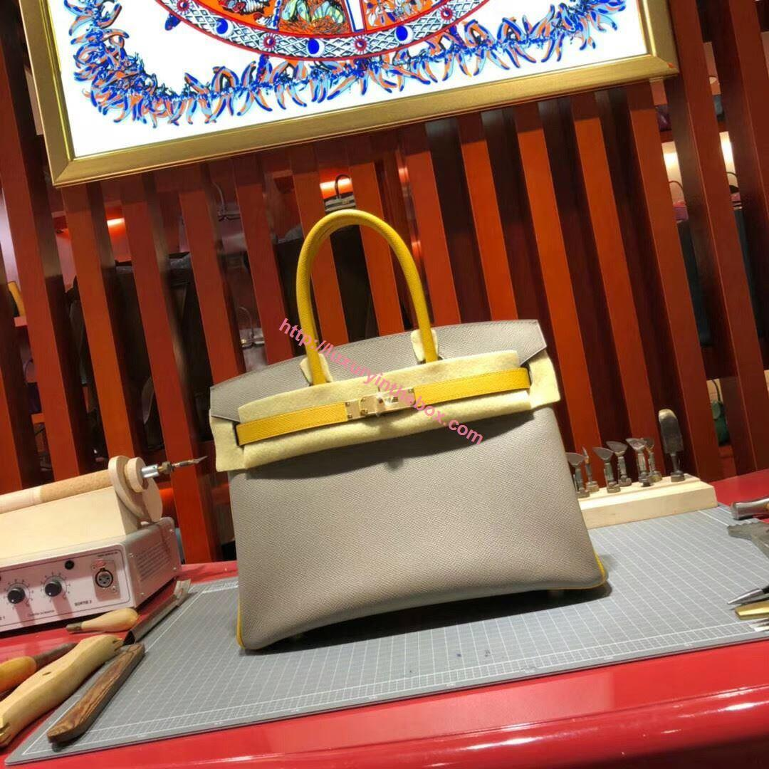 Picture of Hermes Birkin 30cm Epsom Leather Tote Bag Grey with yellow handles Gold