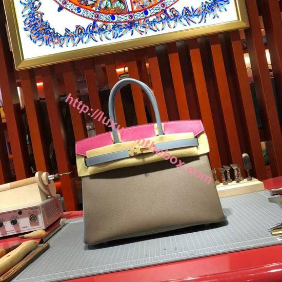Picture of Hermes Birkin 30cm Epsom leather Tote Bag Squireel Grey Gold