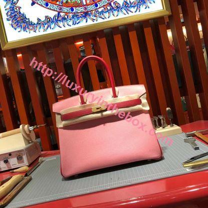 Picture of Hermes Birkin 30cm Epsom Leather Tote Bag Light Pink Gold