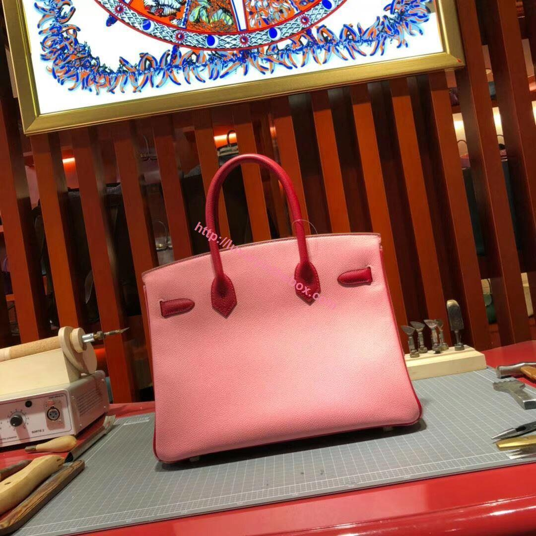 Picture of Hermes Birkin 30cm Epsom Leather Tote Bag Light Pink Gold