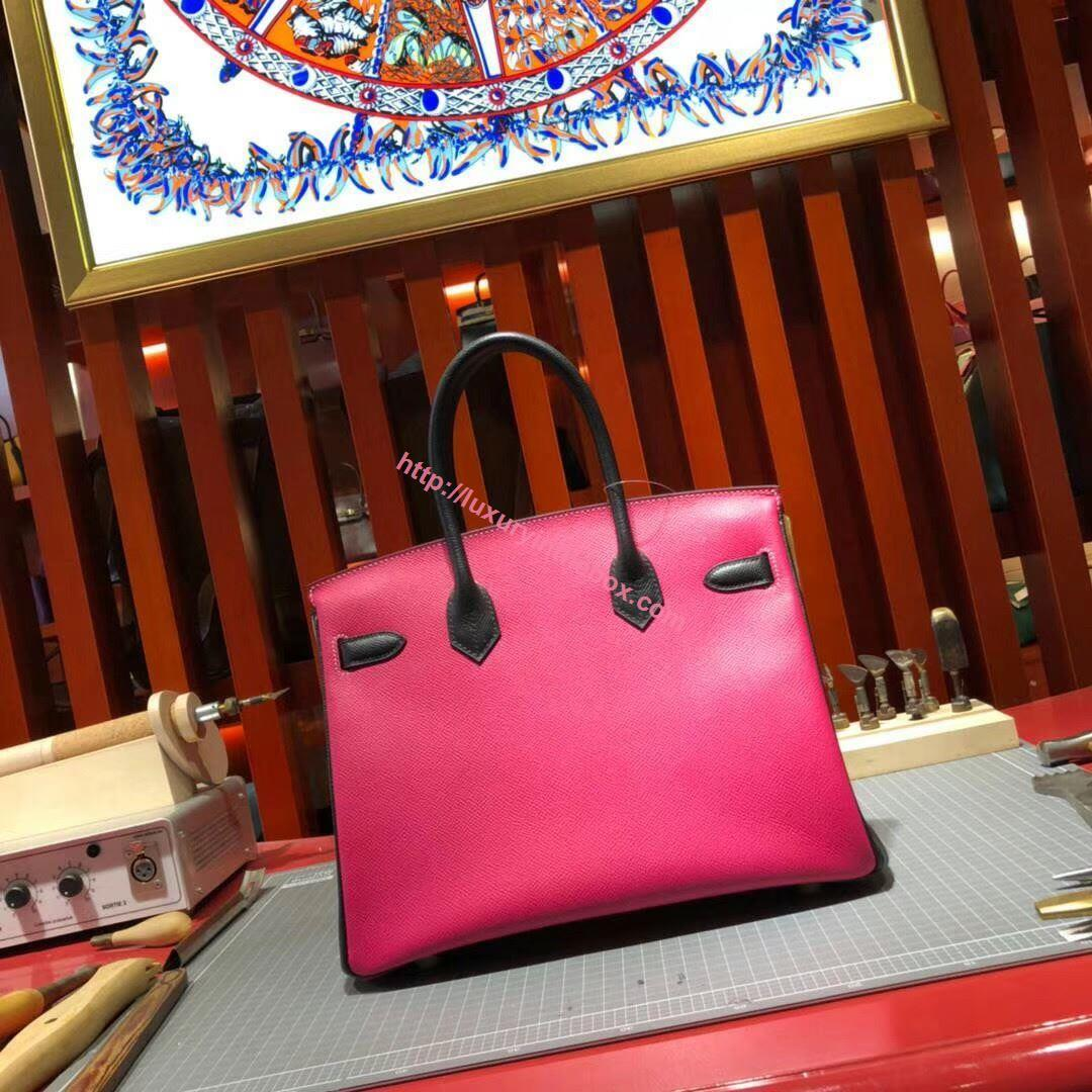 Picture of Hermes Birkin 30cm Epsom leather Tote Bag Rose Red Gold