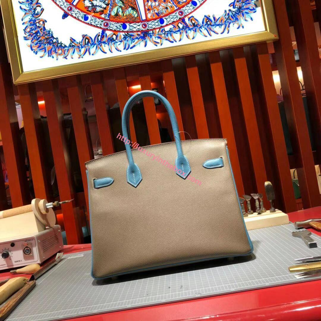 Picture of Hermes Birkin 30cm Epsom Leather Tote Bag Grey with blue handles Gold