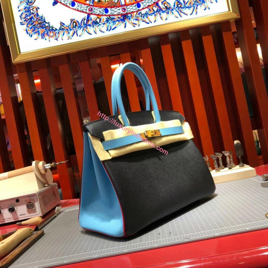 Picture of Hermes Birkin 30cm Epsom leather Tote BagBlack Gold