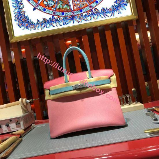 Picture of Hermes Birkin 30cm Epsom Leather Tote Bag Milk Pink with Light Blue handles Gold