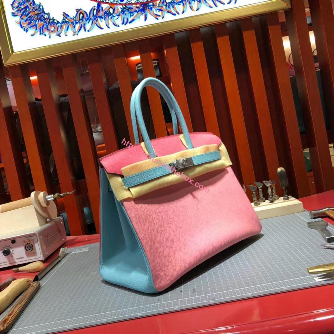 Picture of Hermes Birkin 30cm Epsom Leather Tote Bag Milk Pink with Light Blue handles Gold
