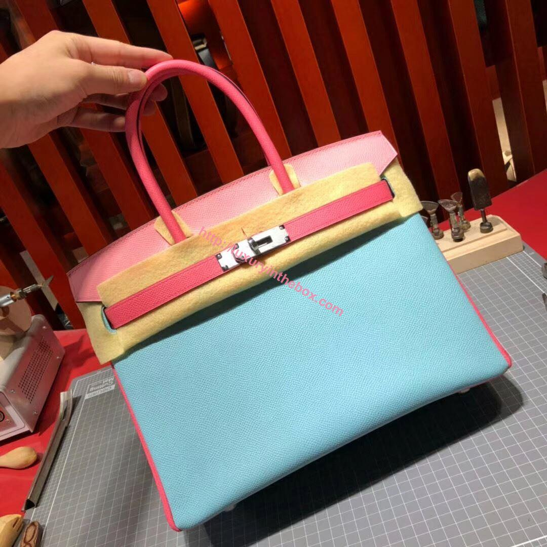 Picture of Hermes Birkin 30cm Epsom Leather Tote Bag Milk Blue&Pink  with pink handles Gold