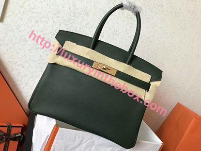 Picture of Hermes Birkin 30cm Epsom Leather Tote Bag Grass Green Gold