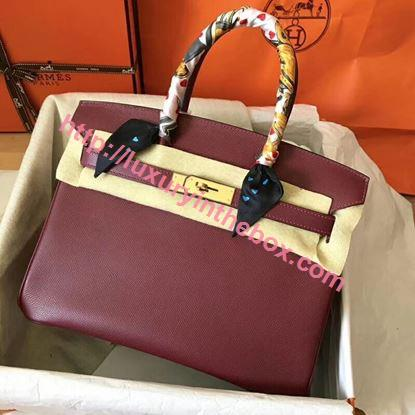 Picture of Hermes Birkin 30cm Epsom LeatherTote Bag Bordeaux Gold