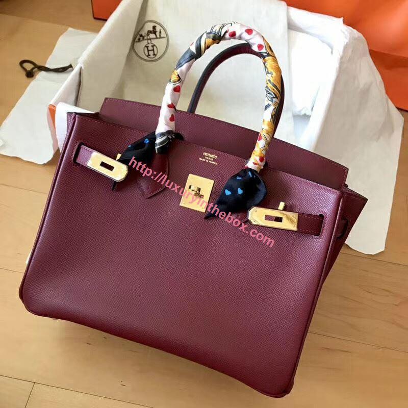 Picture of Hermes Birkin 30cm Epsom LeatherTote Bag Bordeaux Gold