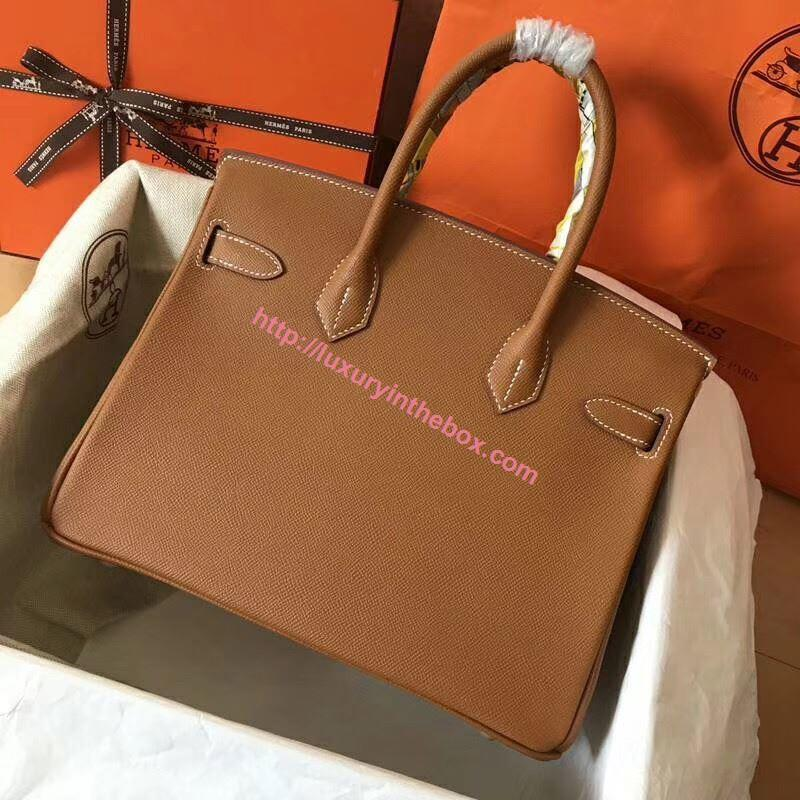 Picture of Hermes Birkin 30cm Epsom Leather Tote Bag GlodenBrown Gold