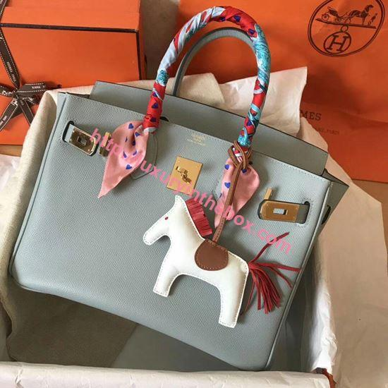 Picture of Hermes Birkin 30cm Epsom Leather Tote Bag Distant Blue Gold