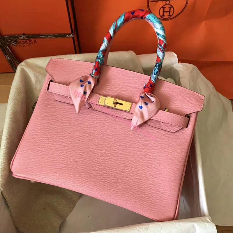 Picture of Hermes Birkin 30cm Epsom LeatherTote Bag Pink Gold