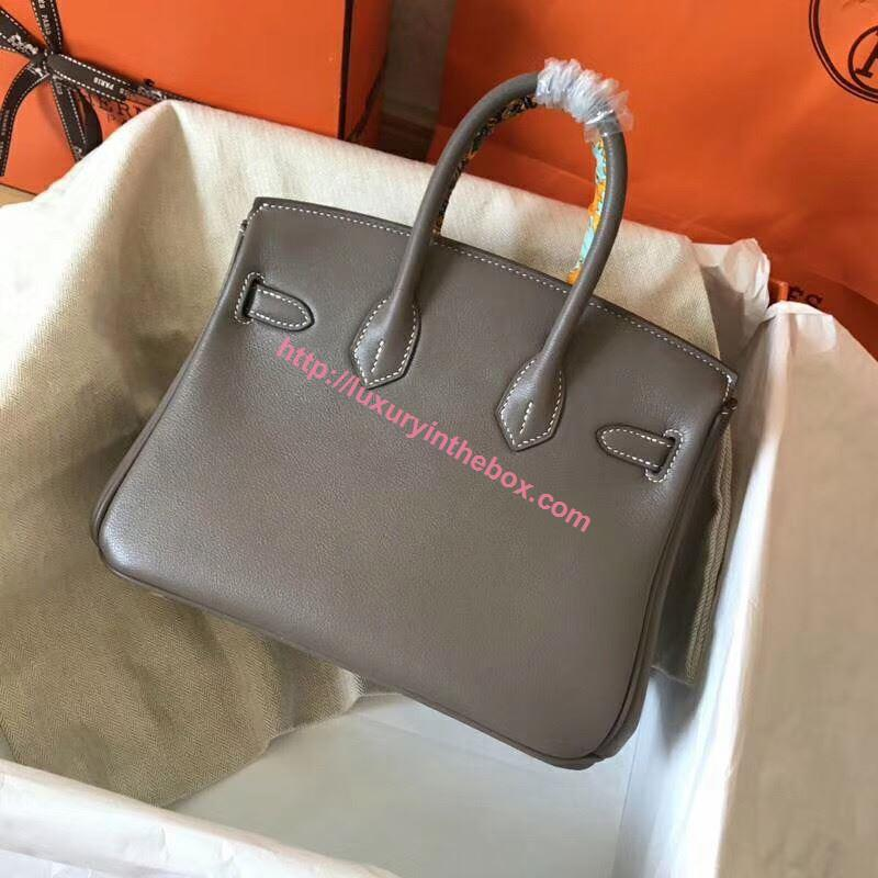 Picture of Hermes Birkin 25cm Swift Leather Tote Bag Dark Grey Gold