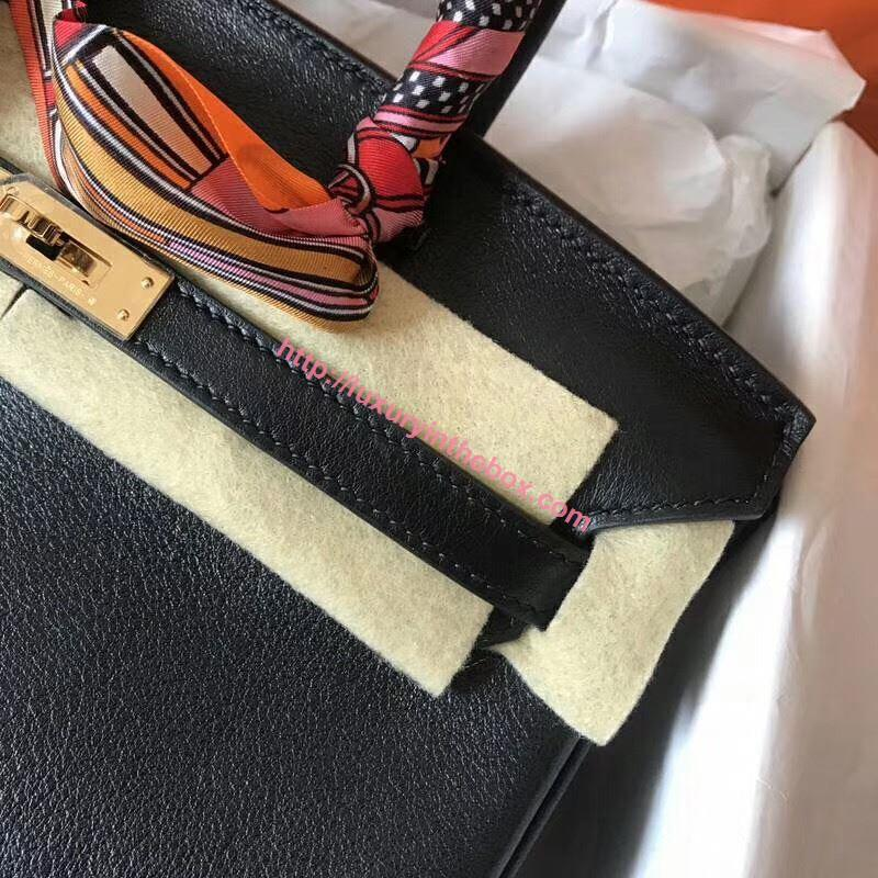 Picture of Hermes Birkin 25cm Swift Leather Tote Bag Black Gold