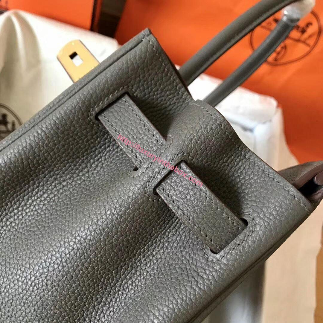 Picture of Hermes Birkin 30cm Togo Leather Tote Bag Mental Grey Gold