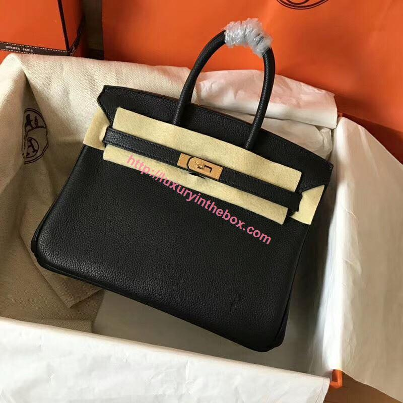 Picture of Hermes Birkin 25cm Togo Leather Tote Bag Black Gold