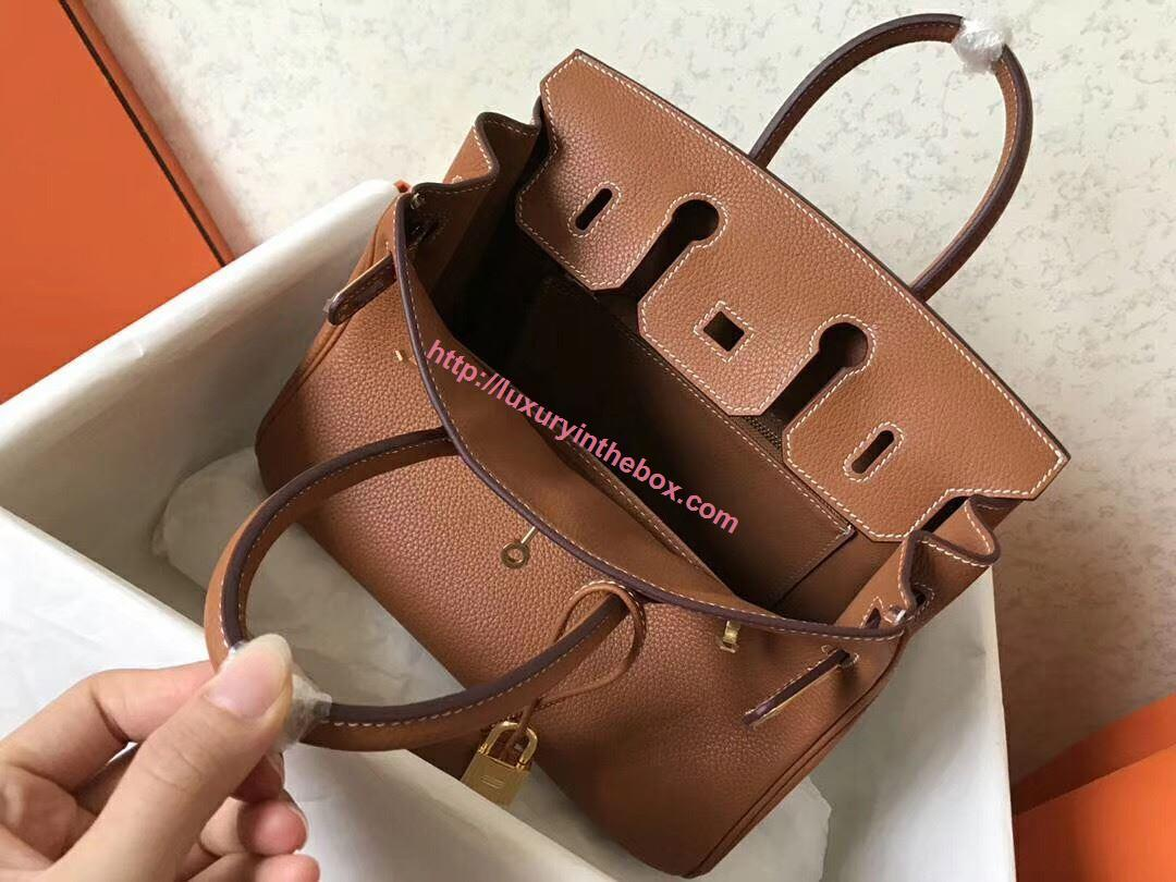 Picture of Hermes 25cm Togo Leather Tote Bag Gloden Brown gold
