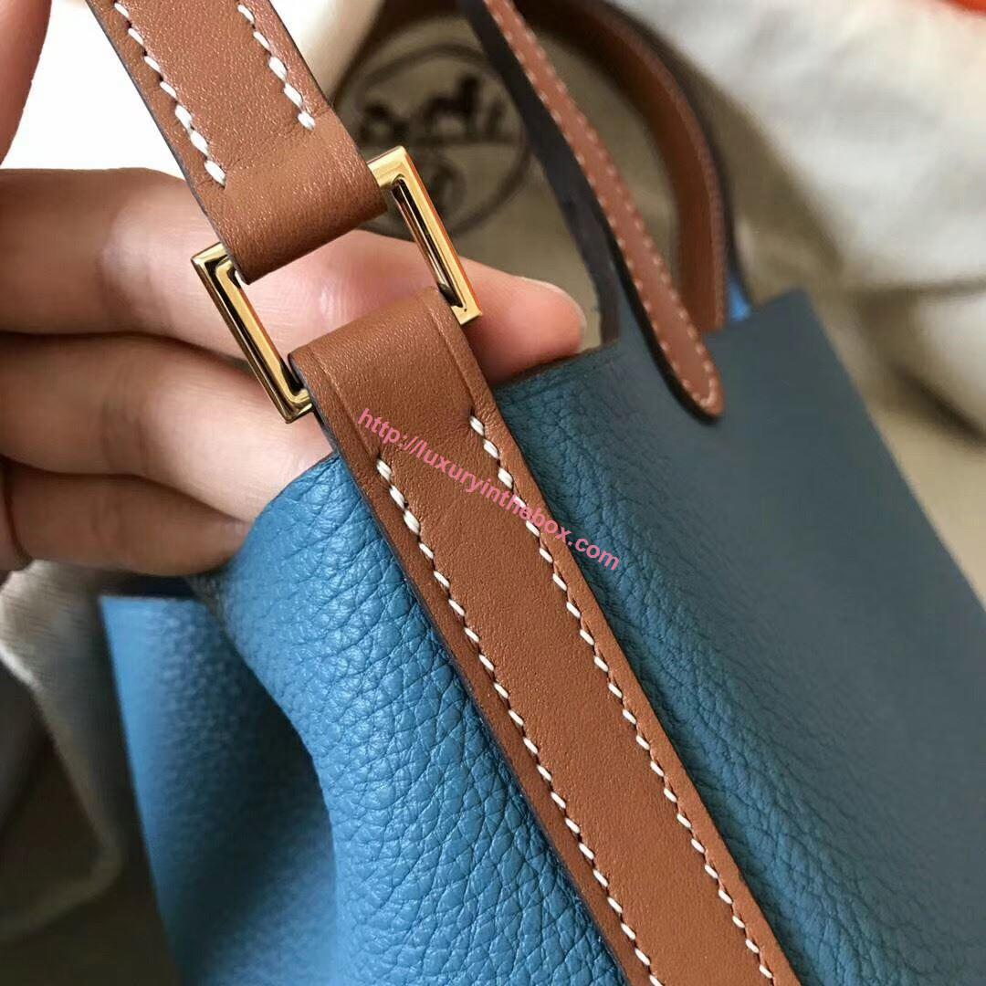 Picture of Hermes Picotin Lock 18/22cm Calfskin Leather Handbag Blue with Bbrown Handles Gold