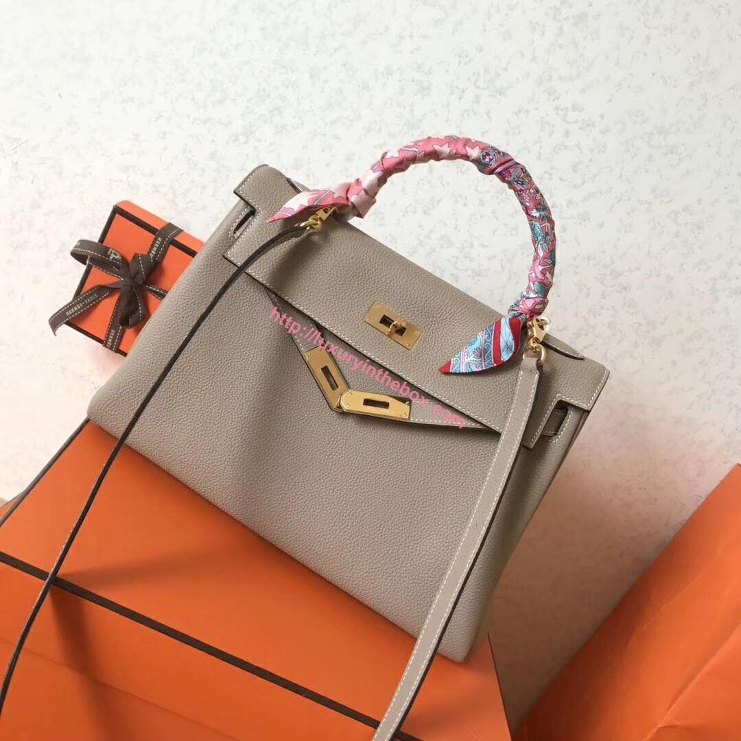 Picture of Hermes Kelly 32cm Calfskin Leather Tote Bag Grey Gold