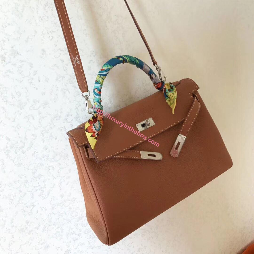 Picture of Hermes Kelly 32cm Calfskin Leather Tote Bag Glod Brown Silver