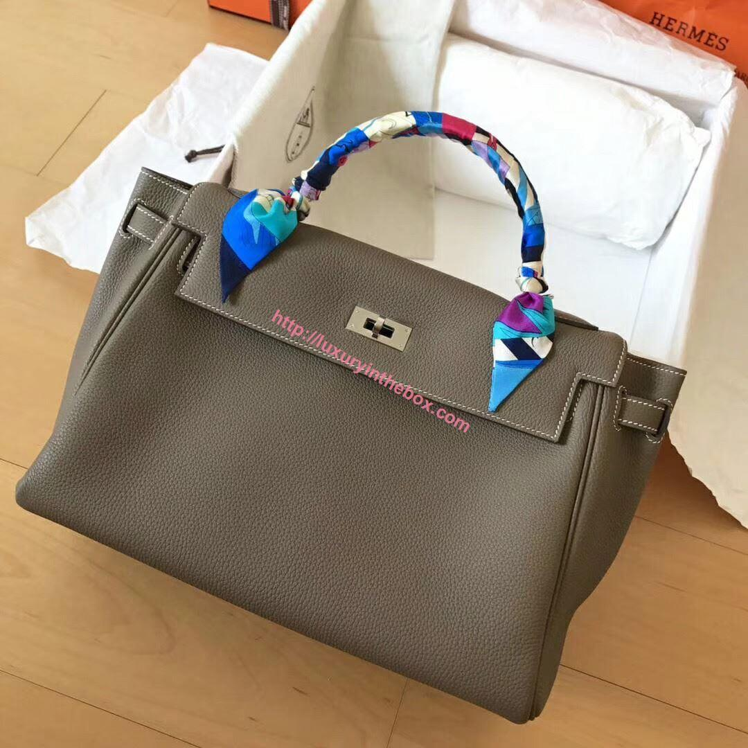 Picture of Hermes Kelly 32cm Calfskin Leather Tote Bag Dark Grey Silver