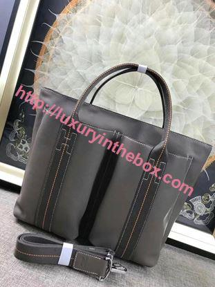 Picture of Hermes Caravane Horizontal 35CM Togo Leather Bag Grey