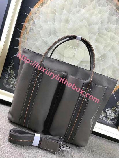 Picture of Hermes Caravane Horizontal 35CM Togo Leather Bag Grey