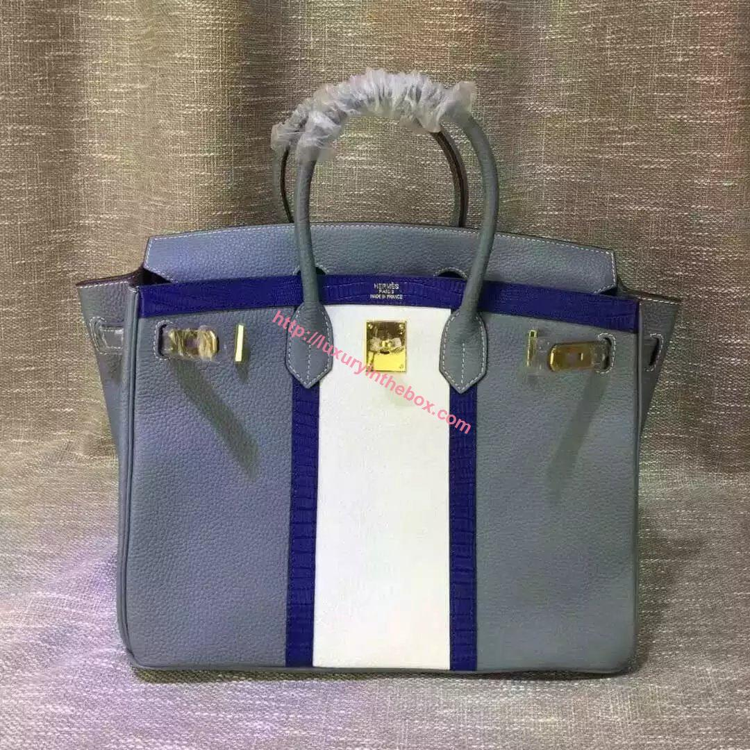 Picture of Hermes 35cm Calf Leather tote bag Light Blue&White Gold