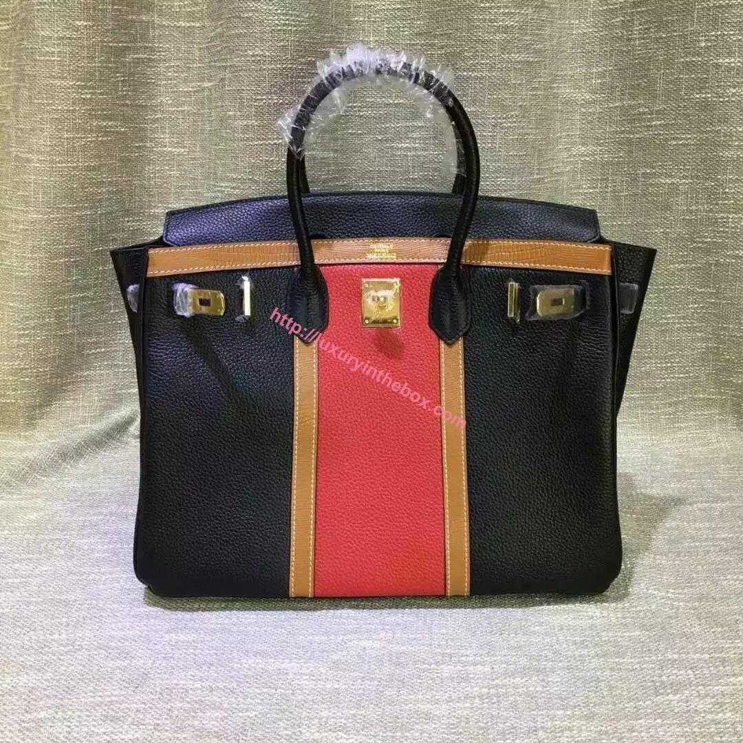 Picture of Hermes 35cm Calf Leather tote bag Black&Red Gold
