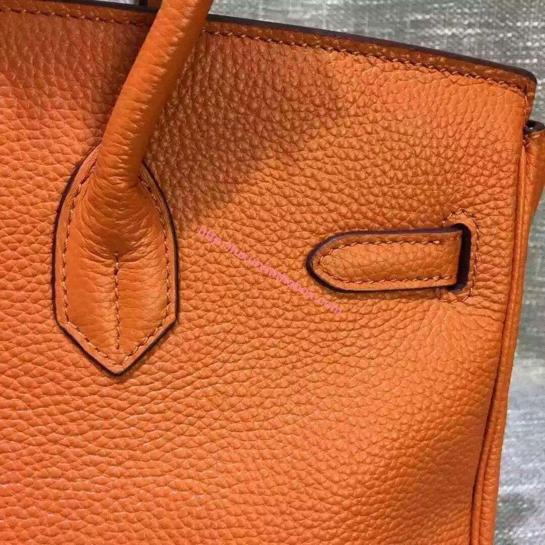 Picture of Hermes 35cm Calf Leather tote bag Orange&Brown Gold