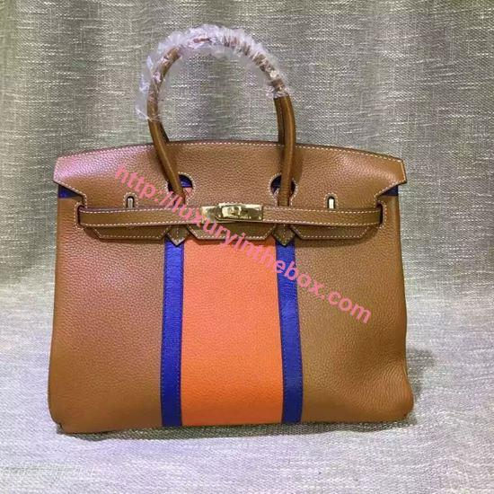 Picture of Hermes 35cm Calf Leather tote bag Brown&Orange Gold