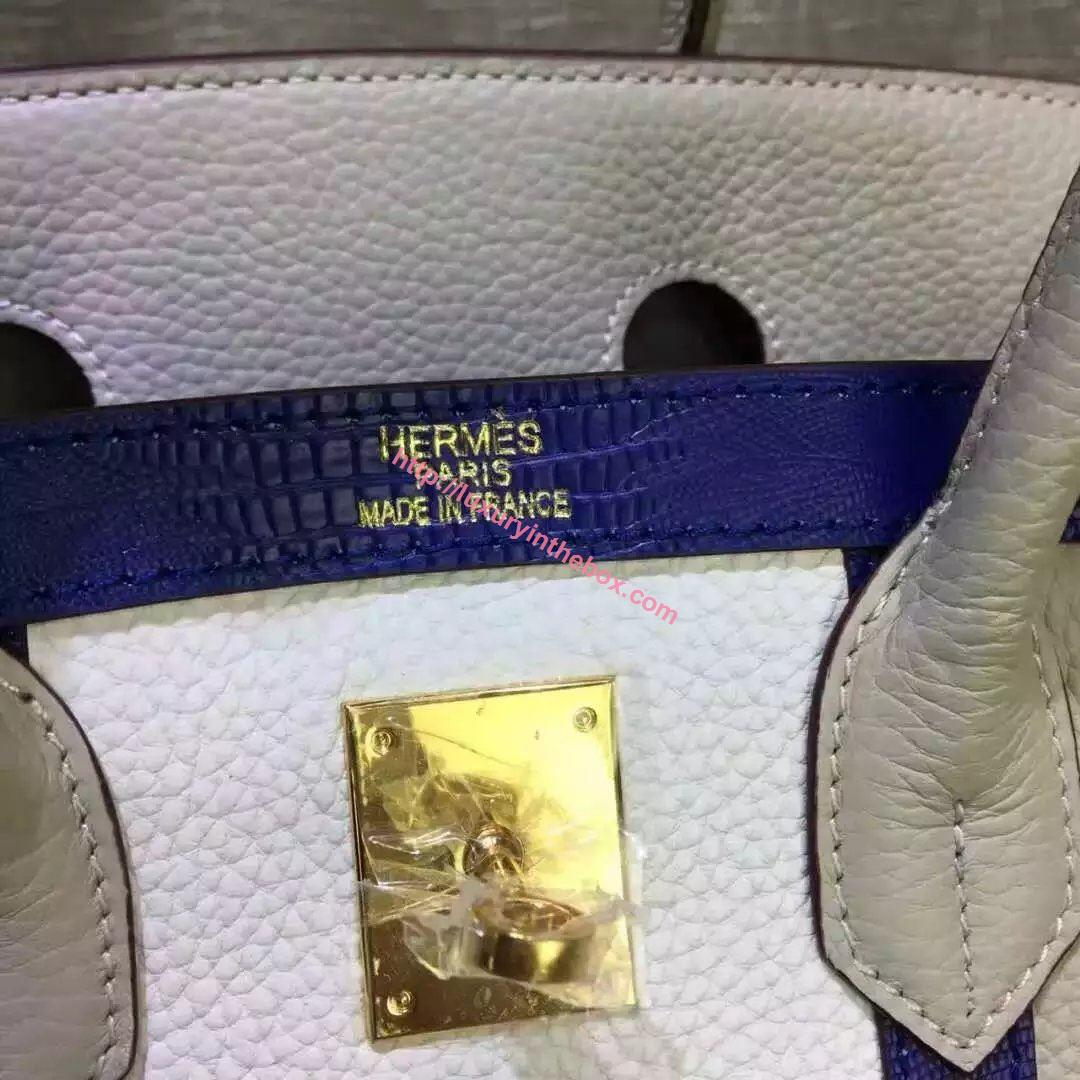 Picture of Hermes 35cm Calf Leather tote bag Oyster White& White Gold