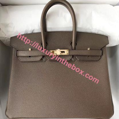 Picture of Hermes 25cm Epsom Leather Tote Bag Dust Grey Gold