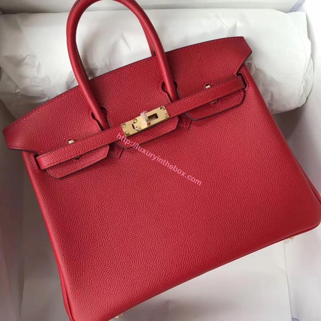 Picture of Hermes 25cm Epsom Leather Tote Bag Red Gold
