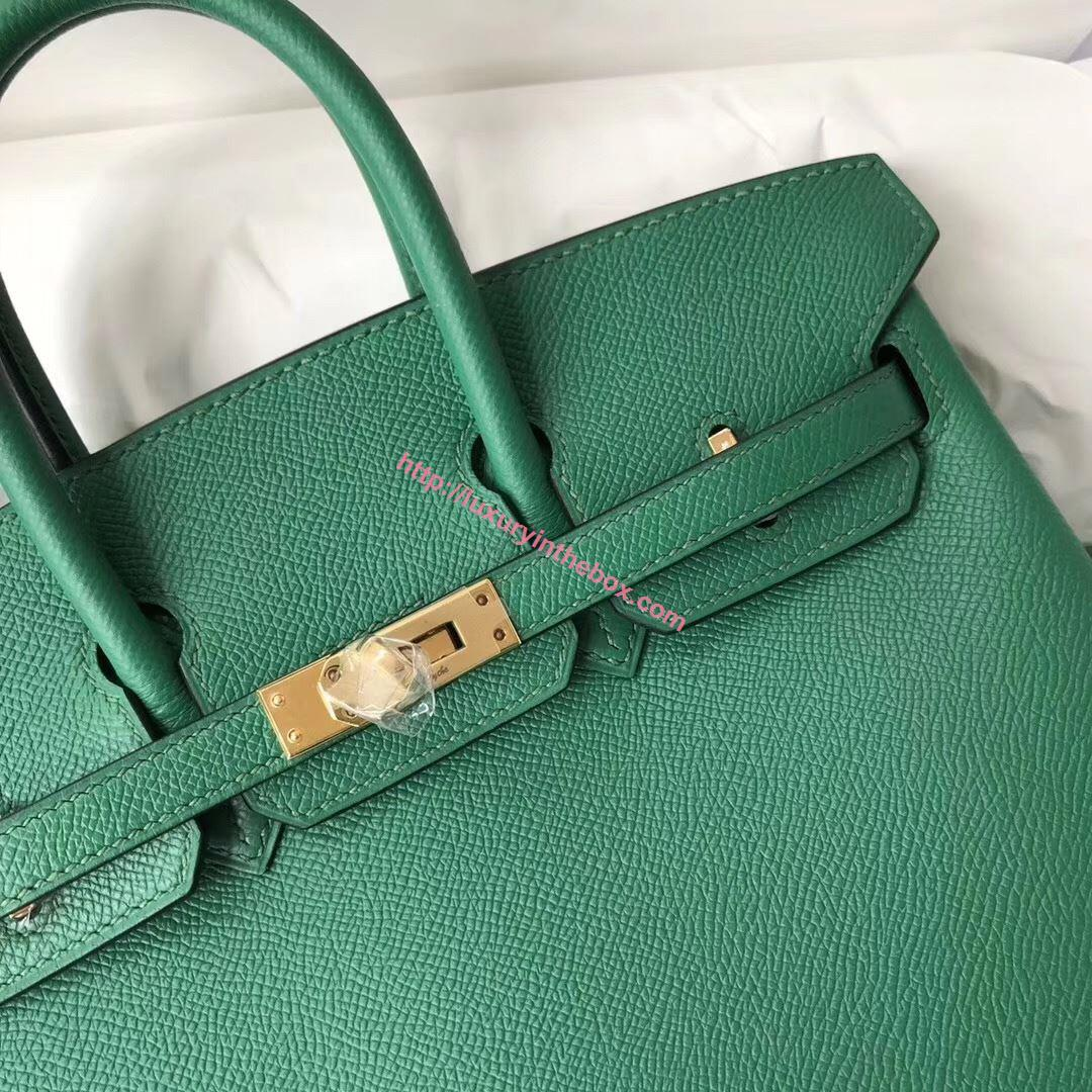 Picture of Hermes 25cm Epsom Leather Tote Leaf Green Gold