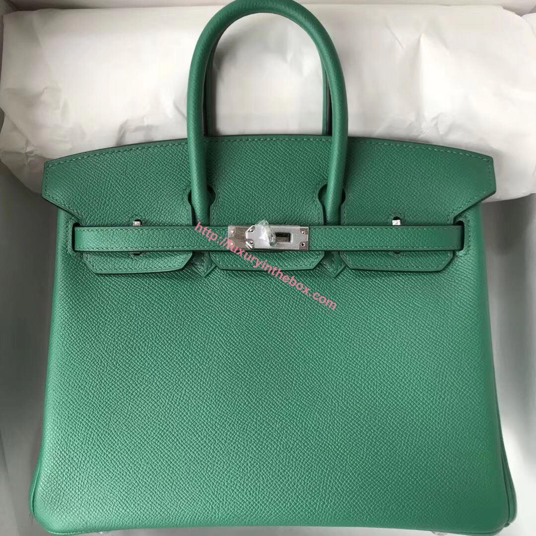 Picture of Hermes 25cm Epsom Leather Tote Leaf Green Silver