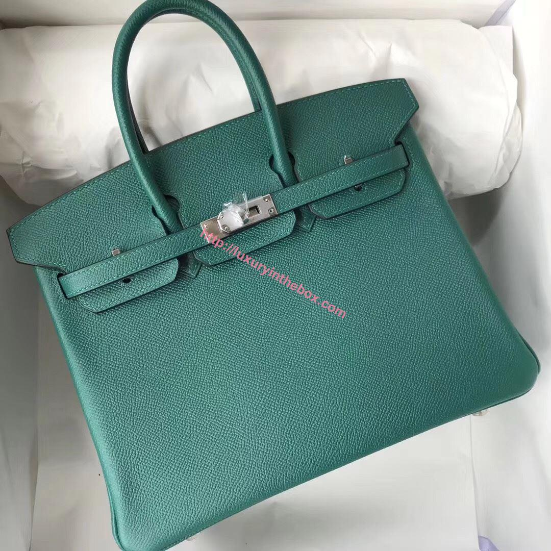 Picture of Hermes 25cm Epsom Leather Tote Blue Green Silver