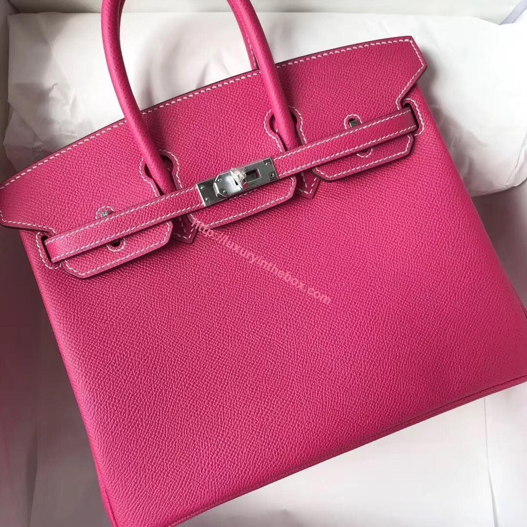 Picture of Hermes 25cm Epsom Leather Tote Carmine Red Silver