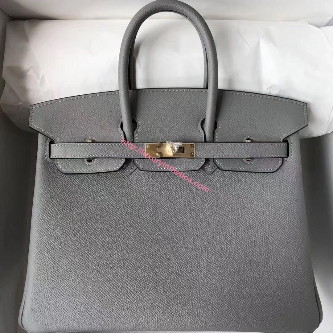 Picture of Hermes 25cm Epsom Leather Tote Piegon Grey Glod (Silver)