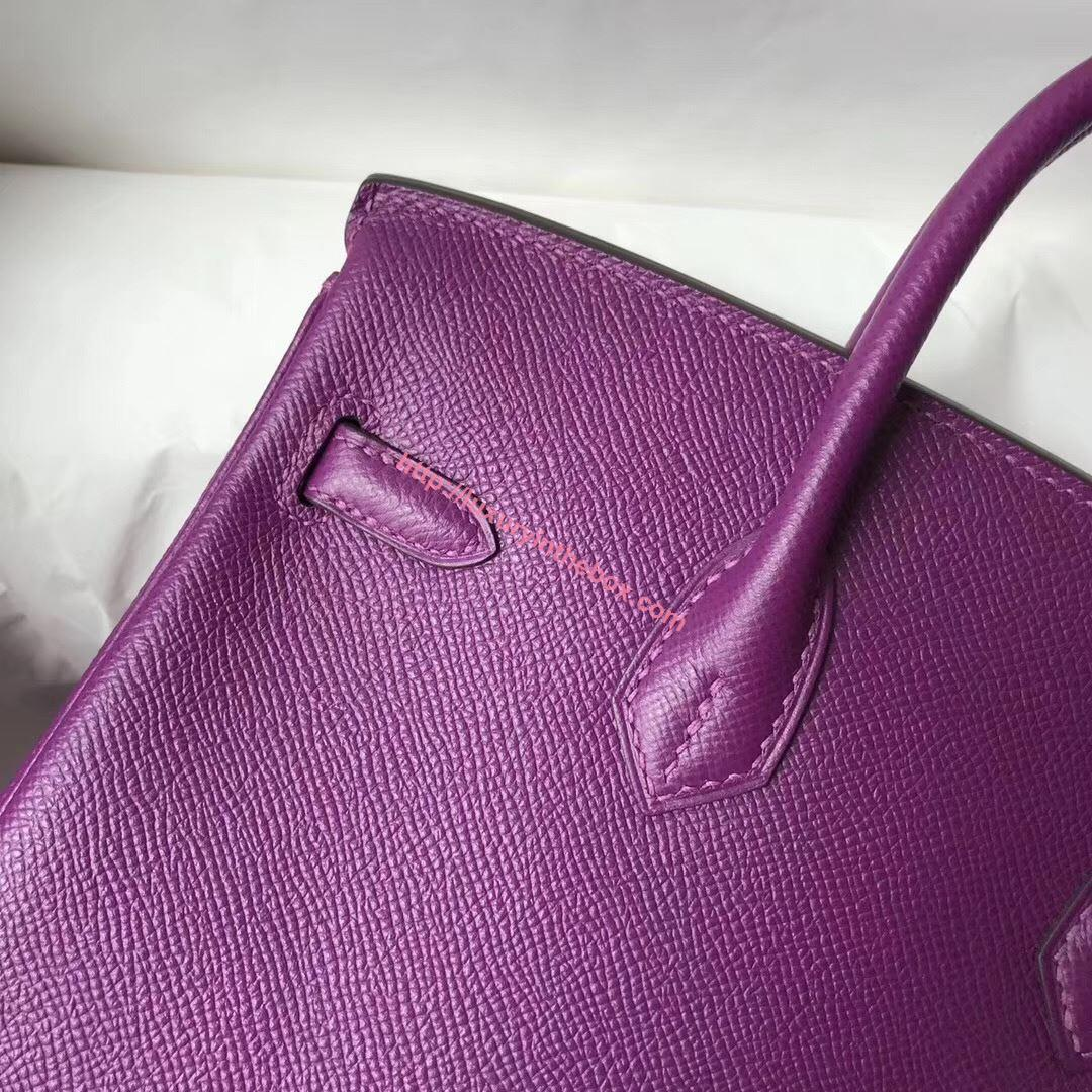 Picture of Hermes 25cm Epsom Leather Tote Violet Glod (Silver)